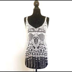 Tops - Lovely 153 Beige Boho Crochet Fringed Tunic Top
